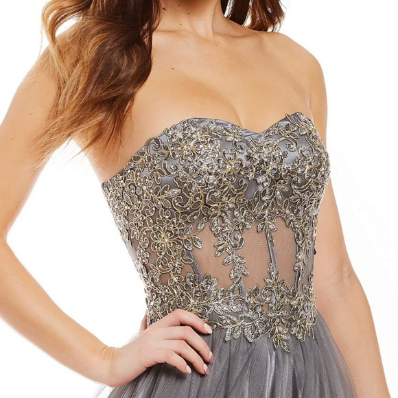 f769a28ba60 Strapless Embroidered Corset Bodice Ball Gown
